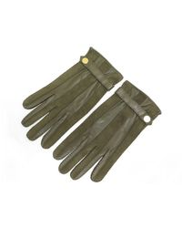Hermès Khaki Leather Gloves - Green