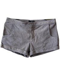 JOSEPH \n Grey Suede Shorts - Gray