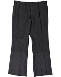 Burberry Pantalons en Lin Gris - Noir