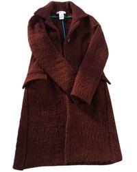 Vanessa Bruno Burgundy Wool Coat - Purple