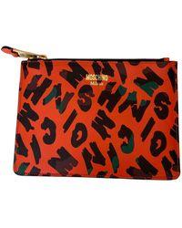 Moschino Leather Clutch Bag - Orange