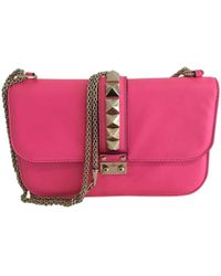 96f618942176 Lyst - Valentino Glam Lock Leather Cross-Body Bag in Pink