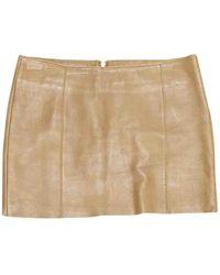 Maje Camel Leather Skirt - Natural