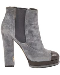 Chanel - Grey Suede Ankle Boots - Lyst