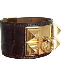 Hermès - Collier De Chien Brown Exotic Leather Bracelets - Lyst