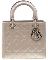 Dior Gray Patent Leather Medium Lady Tote