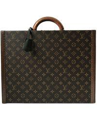 Louis Vuitton President Leinen Reise Tasche - Braun