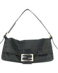 2e2e55187424 Lyst - Fendi Leather Shoulder Bag Micro Baguette in Black