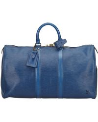 Louis Vuitton Keepall Blue Leather