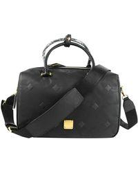 MCM Boston Leather Travel Bag - Black