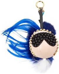 Fendi - Pre-owned Karlito Blue Leather Bag Charms - Lyst