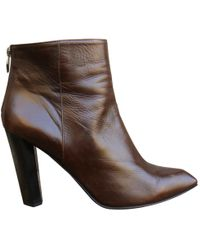 Diane von Furstenberg - Pre-owned Brown Leather Ankle Boots - Lyst