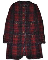 Chanel Multicolour Tweed Coat - Red