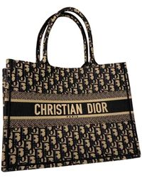 Dior Book Tote Cloth Tote - Black