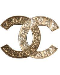 Chanel Spilla in metallo dorato - Multicolore