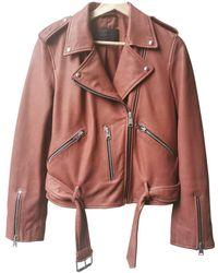 AllSaints Leather Biker Jacket - Pink