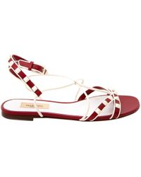 eaa8c6f7800 Lyst - Valentino Rockstud Ankle-strap Flat Sandal in White