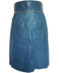 Matthew Williamson - Blue Leather Skirt - Lyst