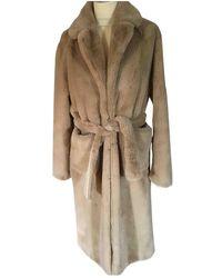 Sandro Fw18 Faux Fur Coat - Natural