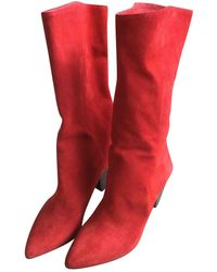 Sandro Leather Boots - Red