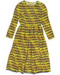 Mary Katrantzou Seide Midi Kleid - Gelb