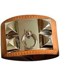 Hermès Bracelets Collier de chien en Argent Camel - Multicolore
