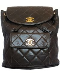 Lyst - Chanel Matelasse Chain Backpack Rucksack Lambskin Leather ... f733a1238fded