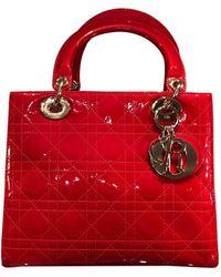 Dior Bolsa de mano en charol rojo Lady