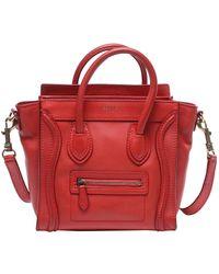Céline Nano Luggage Leder Handtaschen - Rot