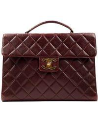 Chanel Burgundy Leather Handbag - Purple