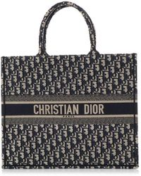 Dior Book Tote Navy Cloth Handbag - Blue