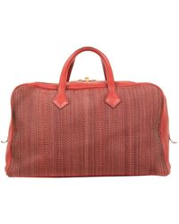 Hermès Victoria Burgundy Leather Travel Bag - Red