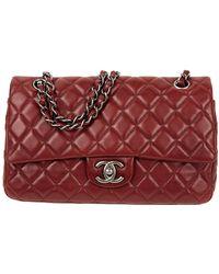 Chanel Bolsa de mano en cuero burdeos Timeless/Classique - Rojo