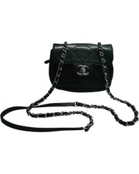 45a8b7d41360 Lyst - Chanel Auth Calfskin Leather Chain Shoulder Bag Black in Black