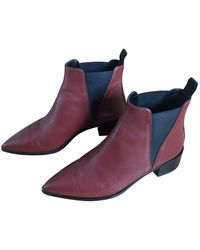 Acne Studios Jensen / Jenny Leather Ankle Boots - Red