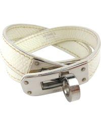 Hermès - Kelly Double Tour White Leather Bracelets - Lyst