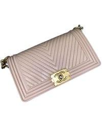 Chanel Bolsa de mano en cuero beige Boy - Neutro