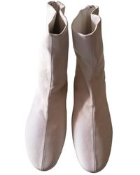 Victoria Beckham Leather Ankle Boots - White