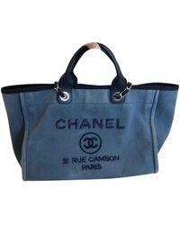 Chanel Sac à main Deauville en Toile Bleu