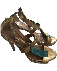 Anya Hindmarch Gold Python Sandals - Multicolor