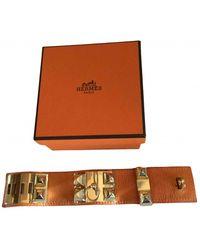 Hermès Collier De Chien Leather Bracelet - Orange