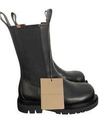 Bottega Veneta Storm Leather Ankle Boots - Black