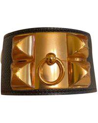 Hermès Collier De Chien Leather Bracelet - Black