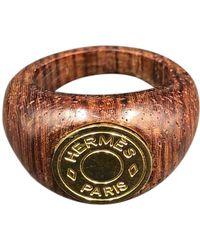 Hermès Anillo en madera plateado Clou de Selle - Metálico