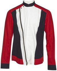 Balmain Vest.Blousons en Coton Multicolore - Rouge