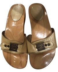 Chanel Patent Leather Mules & Clogs - Natural