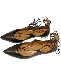 Aquazzura - Christy Black Leather Ballet Flats - Lyst