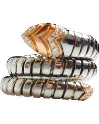 BVLGARI - Pre-owned Serpenti Silver Steel Rings - Lyst