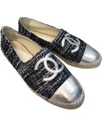 Chanel - Blue Leather Espadrilles - Lyst