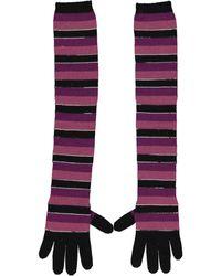 Missoni Multicolour Wool Gloves - Purple